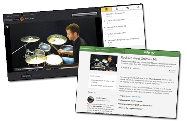 udemy rock drumset grooves course